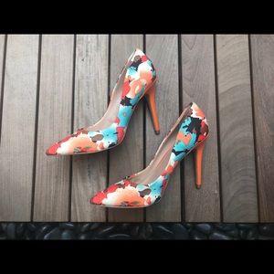 CHARLES DAVID Floral Heels